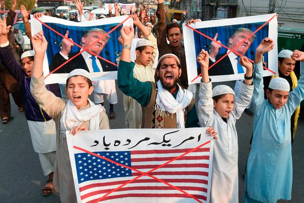 File photo taken on January 5, 2018 Pakistani demonstrators take part in a protest against US aid cuts in Lahore. Photo: ARIF ALI/AFP/Getty Images