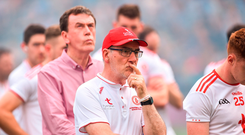 A dejected Tyrone Manager Mickey Harte after the GAA Football All-Ireland Senior Championship Final match between Dublin and Tyrone at Croke Park in Dublin.