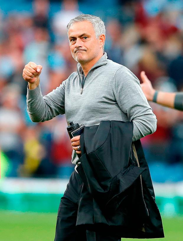 Manchester United manager Jose Mourinho celebrates after beating Burnley