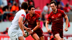 Munster's Joey Carbery supported by team-mate Darren Sweetnam during the PRO14 clash against Toyota Cheetahs. Photo: Diarmuid Greene/Sportsfile