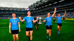 Dublin players, from left, John Small, Brian Fenton, Ciarán Kilkenny and Cormac Costello celebrate following the GAA Football All-Ireland Senior Championship Final match between Dublin and Tyrone at Croke Park in Dublin.