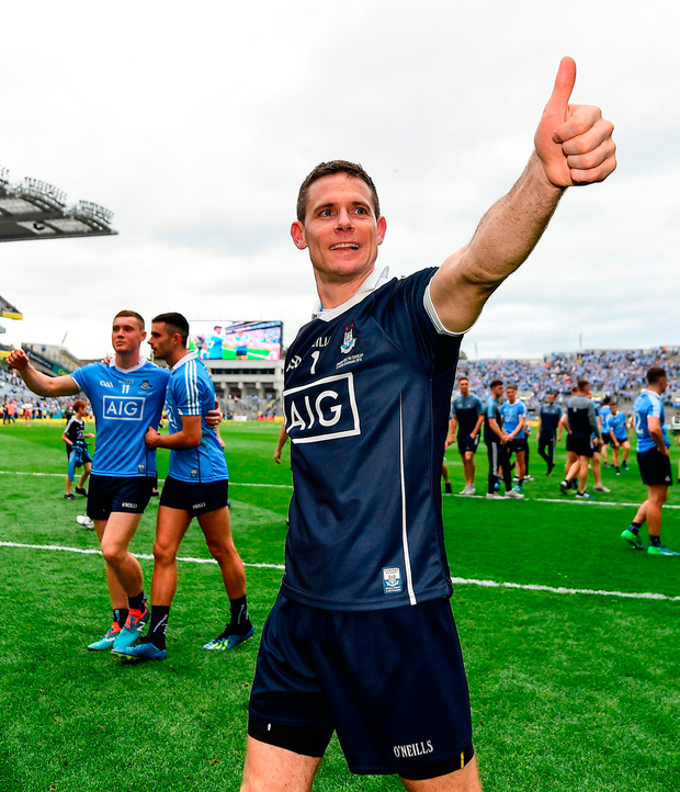 Stephen Cluxton takes the acclaim from Dublin supporters after his team's victory. Photo by Seb Daly/Sportsfile