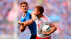 Tyrone's Peter Harte gets to grips with Mick Fitzsimons. Photo by Eóin Noonan/Sportsfile