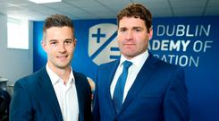 Shake-up: Founder Chris Lauder (left) and principal Michael Ruaidhrí Deasy at the opening of the Dublin Academy of Education.