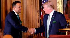 Special relationship: Taoiseach Leo Varadkar greets US President Donald Trump at Capitol Hill during St Patrick's Day celebrations in 2018. Photo: PA
