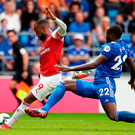 Arsenal's Alexandre Lacazette scores his side's third goal of the match against Cardiff. Photo: Nick Potts/PA