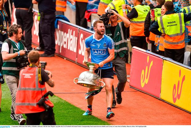 2 September 2018; Jack McCaffrey of Dublin celebrates with the Sam Maguire cup after the GAA Football All-Ireland Senior Championship Final match between Dublin and Tyrone at Croke Park in Dublin. Photo by Oliver McVeigh/Sportsfile