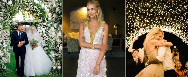 0d83da115038 From the bride's three custom gowns to the couple's personalised private  plane (complete with mascot airport meeters and greeters), Chiara Ferragni  and ...