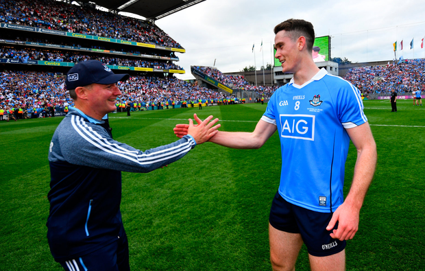 2 September 2018; Dublin manager Jim Gavin and Brian Fenton of Dublin following the GAA Football All-Ireland Senior Championship Final match between Dublin and Tyrone at Croke Park in Dublin. Photo by Ramsey Cardy/Sportsfile
