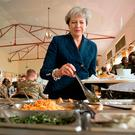 Theresa May joins British soldiers for lunch at the Embakasi Counter IED centre in Nairobi. Photo: Stefan Rousseau/PA Wire