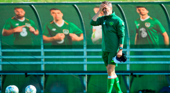 Assistant manager Roy Keane during squad training