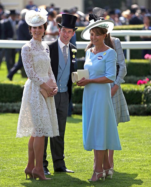 The Duchess of Cambridge (left), and Carole Middelton (right) during day one of Royal Ascot at Ascot Racecourse