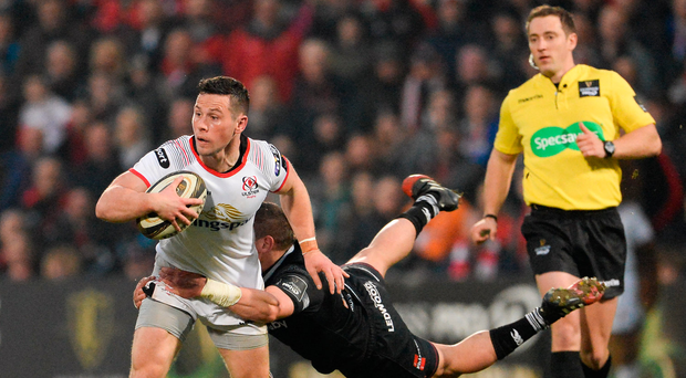 13 April 2018; John Cooney of Ulster is tackled by Hanno Dirksen of Ospreys during the Guinness PRO14 Round 20 match between Ulster and Ospreys at Kingspan Stadium in Belfast. Photo by Oliver McVeigh/Sportsfile