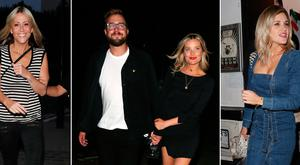 Nicole Appleton, left, Iain Sterling and Laura Whitmore, centre, and Ashley Roberts at Laura's 33rd birthday celebrations. Pictures: Rex Features
