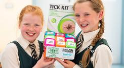 Sarah Cooper & Ali O'Donoghue from Scoil Bhrìde Scartlea, Muckross, Killarney pictured with Tick Kit. Picture: Jerry Kennelly/JEP