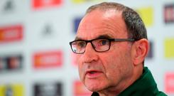 Republic of Ireland manager Martin O'Neill during a press conference at Cardiff City Stadium in Cardiff, Wales. Photo by Stephen McCarthy/Sportsfile