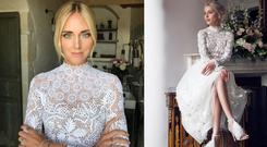 Left: Chiara Ferragni in Dior for 2018 wedding, pic via Instagram | Helen Cody's design from Social & Personal, 2015