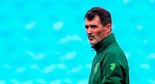 Republic of Ireland assistant manager Roy Keane during a training session at Cardiff City Stadium in Cardiff, Wales. Photo by Stephen McCarthy/Sportsfile