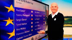 Thomas Bjorn unveiling his full team for the Ryder Cup at yesterday's wild card selection announcement. Photo: Getty