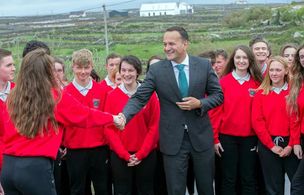 The Islandman: Taoiseach Leo Varadkar meets the pupils of Coláiste Naomh Eoin in Inis Meáin on the Aran Islands. Photo: Tony Gavin