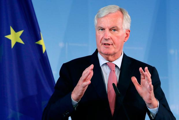 Progress: Michel Barnier held talks with the Brexit select committee. (AP Photo/Michael Sohn)