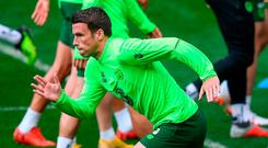 Backs to the wall: Seamus Coleman knows Ireland will be clear underdogs in Cardiff tonight. Photo: Stephen McCarthy/Sportsfile