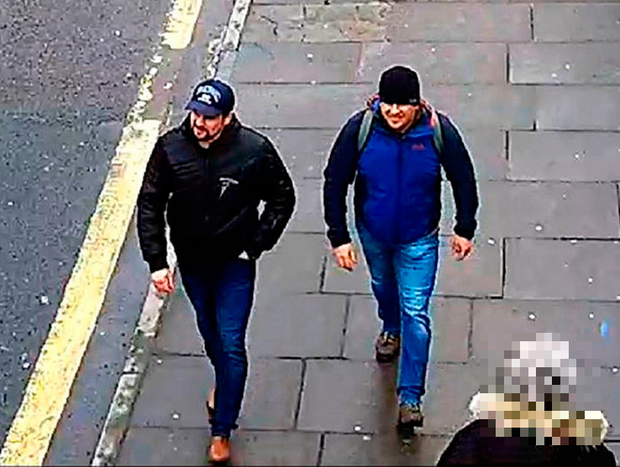 Attack: The suspects, believed to be travelling as Alexander Petrov (left) and Ruslan Boshirov. Photo credit: Metropolitan Police/PA Wir
