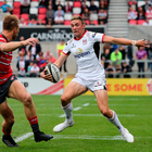 18 August 2018; Aaron Sexton of Ulster in action against Jason Woodward of Gloucester during the Pre-Season Friendly match Ulster and Gloucester at the Kingspan Stadium in Antrim. Photo by John Dickson/Sportsfile