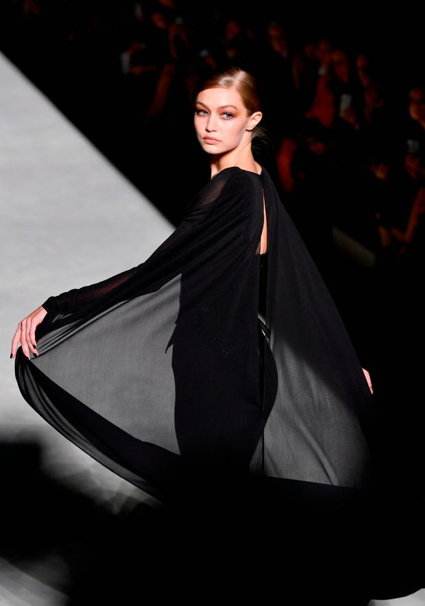 Gigi Hadid walks the runway at the Tom Ford fashion show during New York Fashion Week at Park Avenue Armory on September 5, 2018 in New York City. (Photo by Slaven Vlasic/Getty Images)