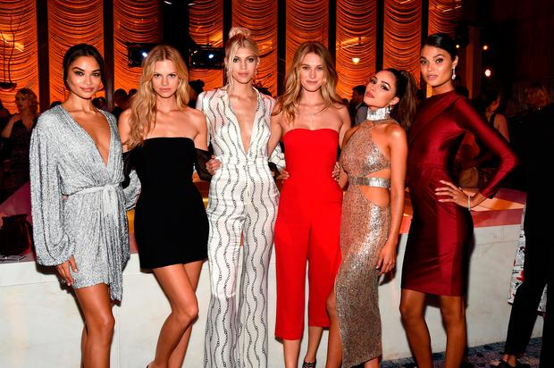 (L-R) Shanina Shaik, Nadine Leopold, Devon Windsor, Caroline Lowe, Olivia Culpo and Daniela Braga attend as E!, ELLE & IMG celebrate the Kick-Off To NYFW: The Shows at The Pool on September 5, 2018 in New York City. (Photo by Ilya S. Savenok/Getty Images for IMG)