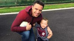 Ruadhan and his father Alan, a former Galway Dual player