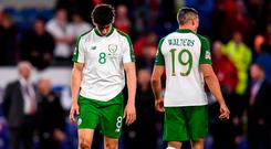 Callum O'Dowda, left, and Jonathan Walters of Republic of Ireland dejected following the UEFA Nations League match between Wales and Republic of Ireland at the Cardiff City Stadium in Cardiff, Wales. Photo by Stephen McCarthy/Sportsfile