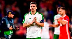 Seamus Coleman of Republic of Ireland applauds supporters following the UEFA Nations League match between Wales and Republic of Ireland at the Cardiff City Stadium in Cardiff, Wales. Photo by Stephen McCarthy/Sportsfile