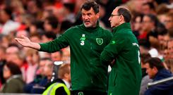 Ireland manager Martin O'Neill and his assistant Roy Keane in discussion during last night's Nations League defeat in Cardiff. Photo: Stephen McCarthy/Sportsfile