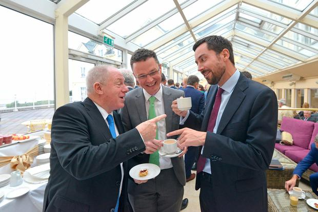 Michael Ring, Patrick O'Donovan and Eoghan Murphy at the Fine Gael think-in in Galway. Photo: Barbara Lindberg