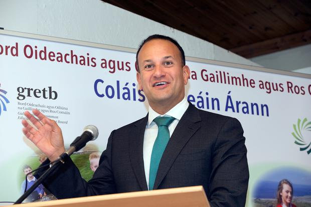 Taoiseach Leo Varadkar speaks at Coláiste Naomh Eoin on Inis Meáin to mark it's establishment as a single entity school. Picture: Tony Gavin