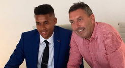 Gavin Bazunu signs his Man City contract alongside academy director Jason Wilcox