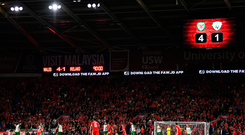 6 September 2018; A general view of Cardiff City Stadium with the scoreboard showing the final score of Wales 4 Republic of Ireland 1 during the UEFA Nations League match between Wales and Republic of Ireland at the Cardiff City Stadium in Cardiff, Wales. Photo by Stephen McCarthy/Sportsfile