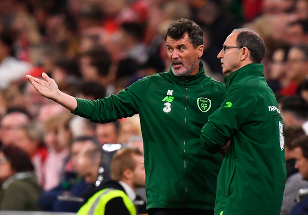 6 September 2018; Republic of Ireland manager Martin O'Neill and assistant manager Roy Keane during the UEFA Nations League match between Wales and Republic of Ireland at the Cardiff City Stadium in Cardiff, Wales. Photo by Stephen McCarthy/Sportsfile