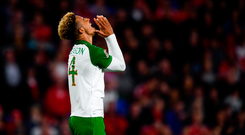 6 September 2018; Callum Robinson of Republic of Ireland reacts to a missed chance during the UEFA Nations League match between Wales and Republic of Ireland at the Cardiff City Stadium in Cardiff, Wales. Photo by Stephen McCarthy/Sportsfile
