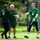 Caoimhin Kelleher with Republic of Ireland manager Martin O'Neill, left, and goalkeeping coach Seamus McDonagh during a Republic of Ireland training session at Dragon Park in Newport, Wales.