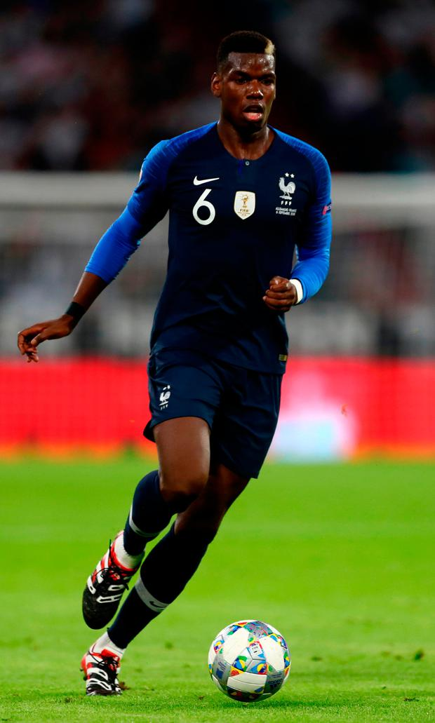 Paul Pogba in action for France during their UEFA Nations League clash with Germany last night.