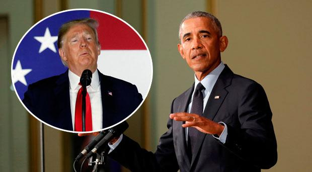 Barack Obama delivering his speech, inset Donald Trump mocking the former President at a rally
