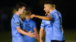 UCD's Evan Osam, right, and Jason McClelland celebrate after the Irish Daily Mail FAI Cup Quarter-Final match between UCD and Waterford at the UCD Bowl in Dublin.