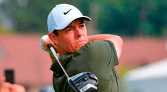 In the hunt: Rory McIlroy is four shots off the lead at the BMW Championship after following up a fine first day with a slightly disappointing round yesterday. Photo: Drew Hallowell/Getty Images
