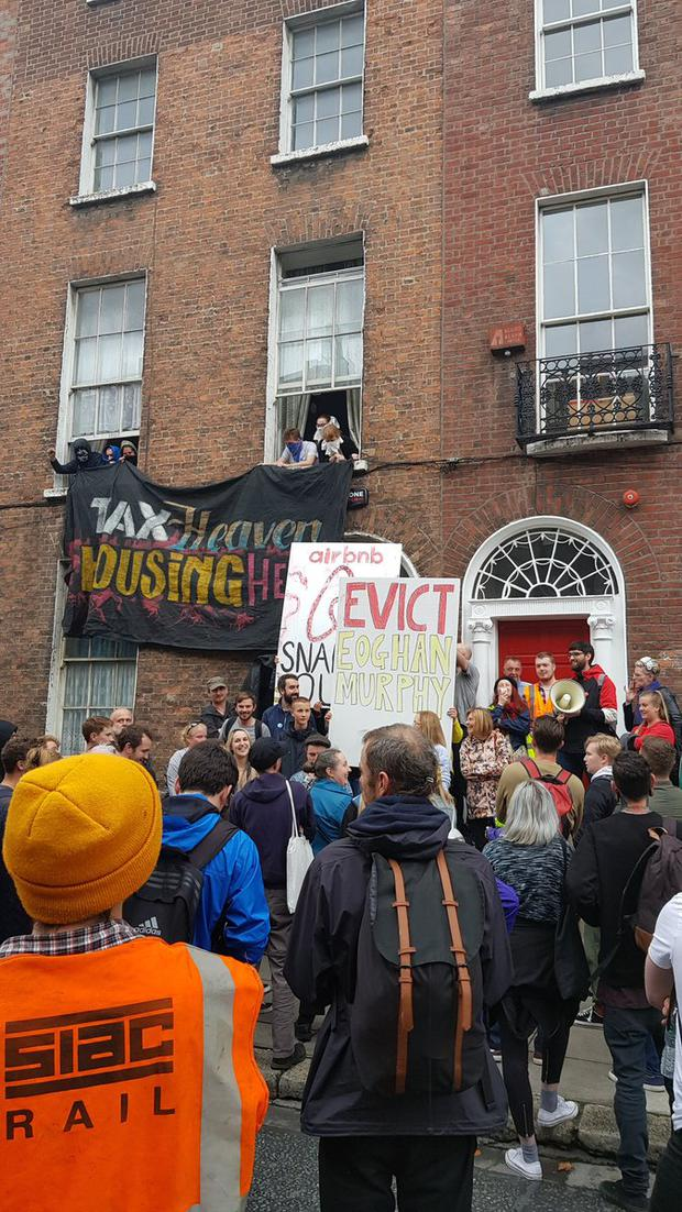 Activists at the property in Belvedere Court Photo: Take Back the City Twitter