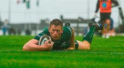 Eoin Griffin of Connacht scores his side's fourth try during the Guinness PRO14 Round 2 match between Connacht and Zebre at The Sportsground in Galway. Photo by Harry Murphy/Sportsfile
