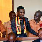 Bobi Wine appearing in court, after he had been tortured by Ugandan police. Photo: AP