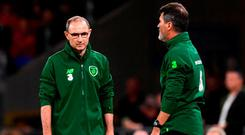 Republic of Ireland manager Martin O'Neill, left, and Republic of Ireland assistant manager Roy Keane. Photo: Stephen McCarthy/Sportsfile