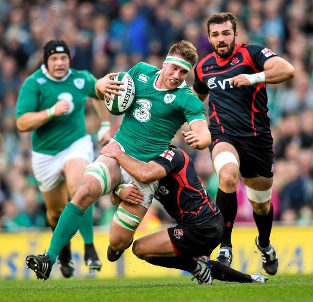 Dominic Ryan suffered disturbing symptoms after being hurt while tackling Wales and Lions wing George North. Photo: Sportsfile